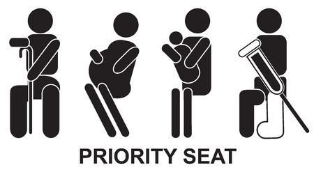 siège de priorité, signe, noir