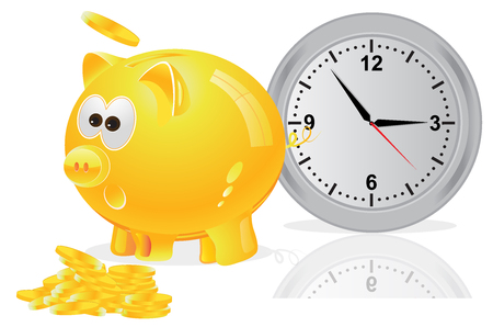 time is money: Time, money, concept, piggy bank, yellow