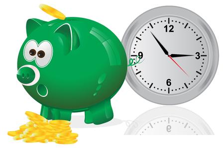 savings account: Time, money, concept, piggy bank, green Illustration