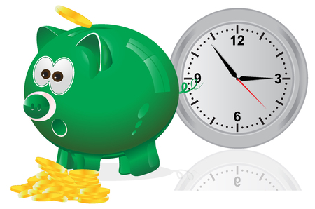 Time, money, concept, piggy bank, green Illustration