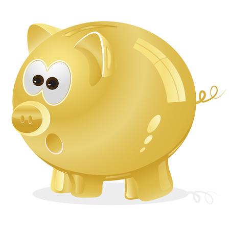 money box: Piggy bank, money box, golden