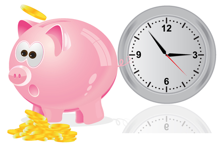 time is money: Time, money, concept, pink Illustration