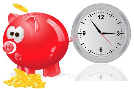 time is money: Time, money, concept, red Illustration