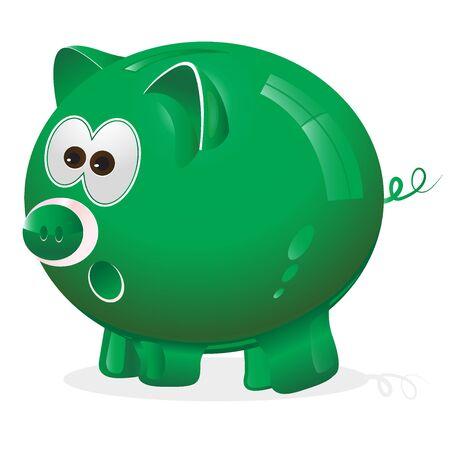 money box: Piggy, money box, monney bank, green Illustration