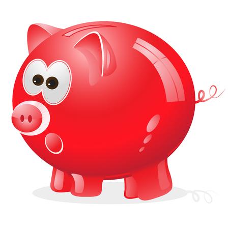 money box: Piggy, money box, money bank, red