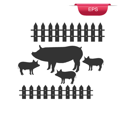 pig, pork, meat, design element, vector illustration