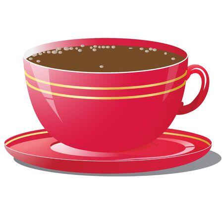 Vectorillustratie van rode kop koffie Stock Illustratie
