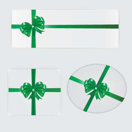 green bow: Green bow, ribbon and gifts