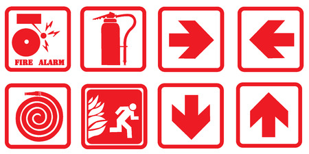 conflagration: Fire alarm signs Illustration