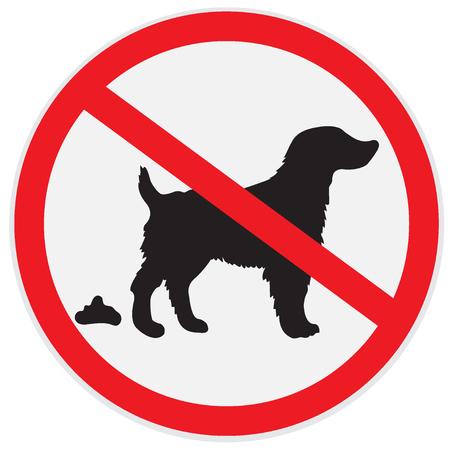 defecation: No dog poop sign Illustration