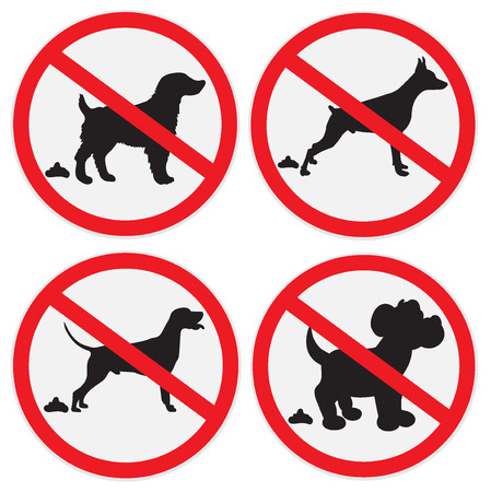 illegal zone: No dog poop signs, icon, badge