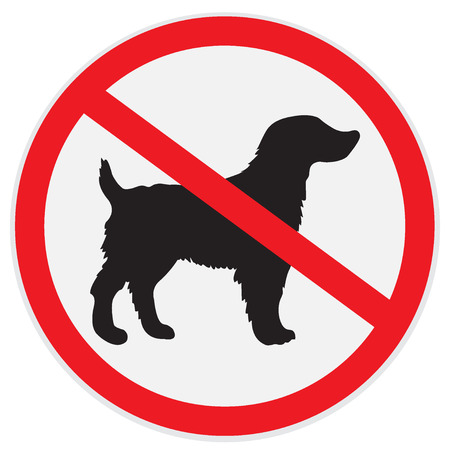 illegal zone: No dogs allowed sign Illustration