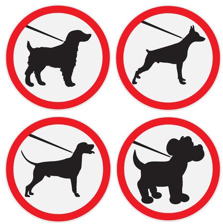 communicate  isolated: Dog on lead sign, set Illustration