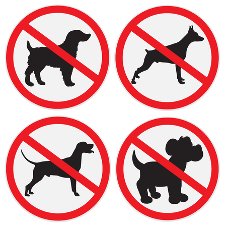 red sign: No dogs allowed sign, set