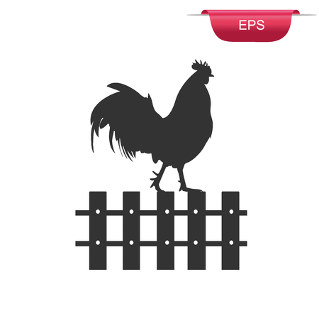crowing: Rooster on fence icon, chicken, crowing, vector illustration