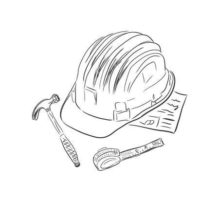 ベクトル図、スケッチ スタイルで建設労働者の供給