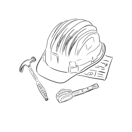 Construction worker supplies in sketch style, vector illustration