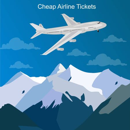 cheap airline tickets concept, vector illustration