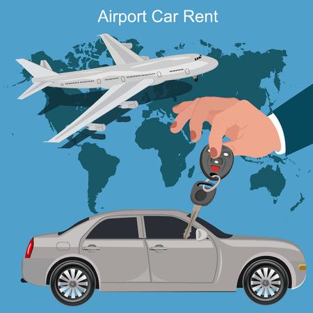 car rent: airport car rent concept, vector illustration