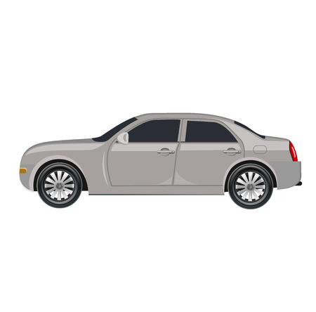 alloy wheel: Compact four door car isolated on white, prototype, vector illustration