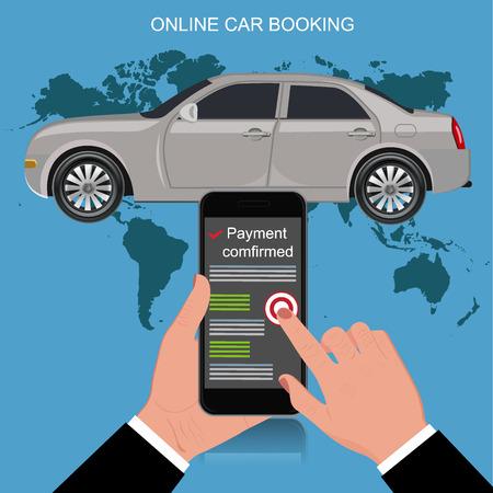 online car booking concept, vector illustration