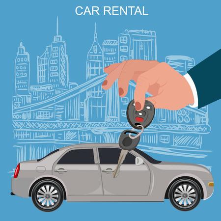 insertion: Car keys and remote, rental concept, vector illustration