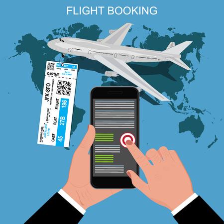 flight booking: flight booking concept, vector illustration