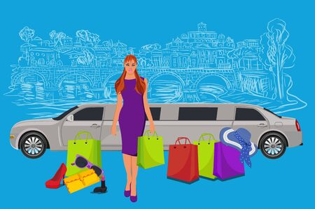 limousine: woman near limousine after shopping, Italy background,  vector illustration