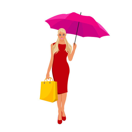 Woman with umbrella, vector illustration