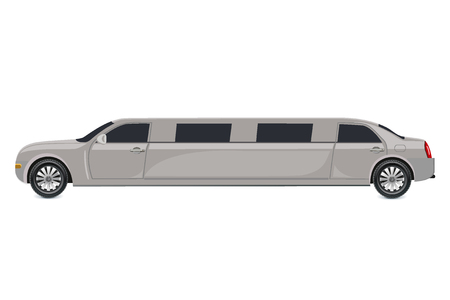 White limousine, vector illustration  イラスト・ベクター素材