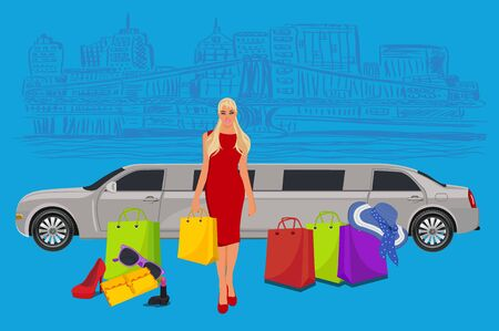 limousine: woman near limousine after shopping, New York background,  vector illustration