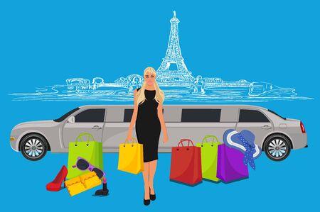 limousine: woman near limousine after shopping, Paris background,  vector illustration Illustration