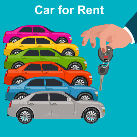 rent: Car for rent concept, hand holding key, illustration