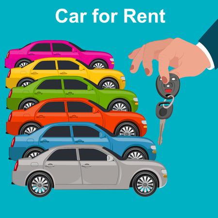 Car for rent concept, hand holding key, illustration
