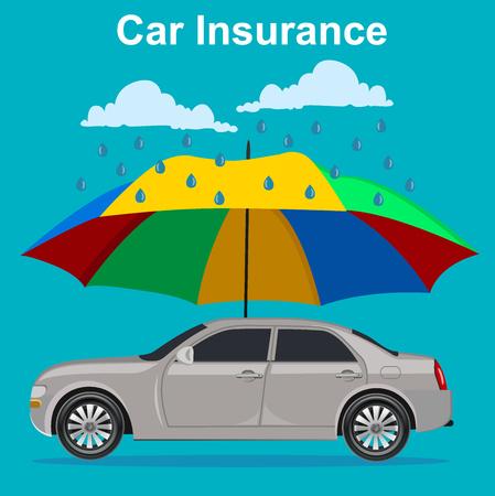 car concept, umbrella and rain, illustration Ilustracja