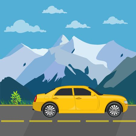 Car travel concept, illustration