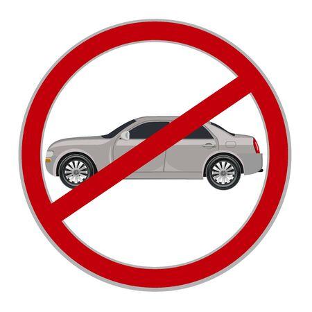 allowed: No cars allowed sign, no parking, illustration Illustration