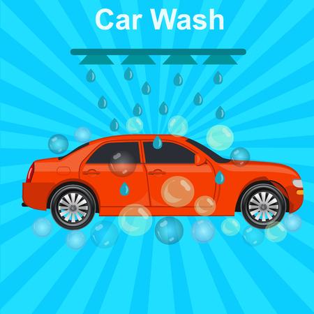 car wash: car wash concept, illustration Illustration