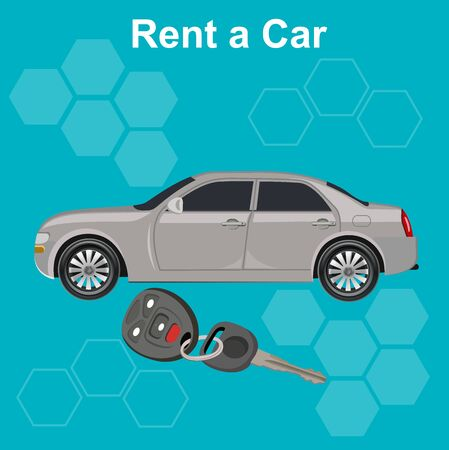 rent: Rent a car concept, illustration Illustration