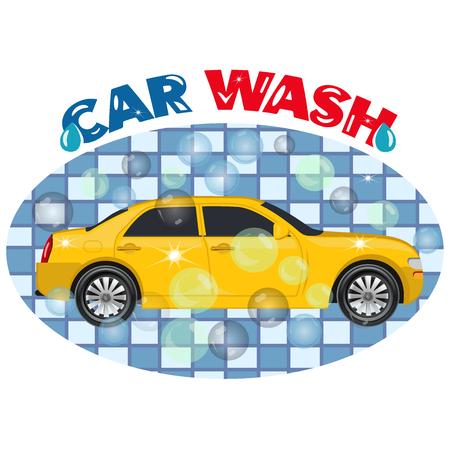 car wash: Car wash service, emblem, illustration