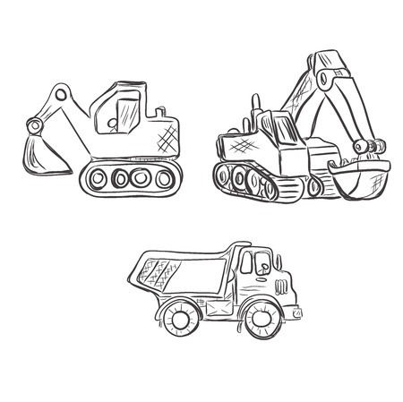 truckload: Excavator, construction, lorry, sketch style