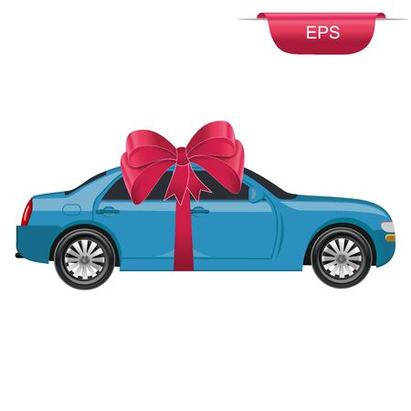 red ribbon bow: car gift, surprise, graphic design element, vector illustration, flat style