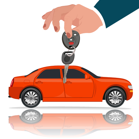 auto service: Hands with car key, vector illustration, flat style