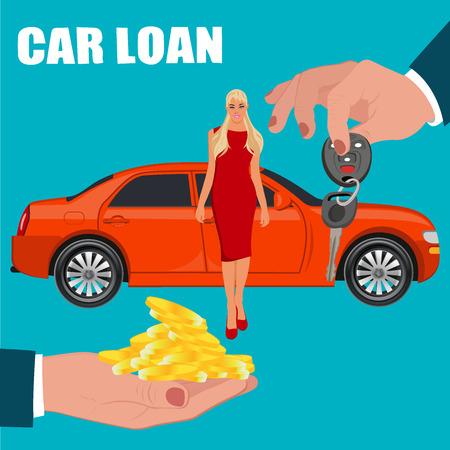 owner money: car loan concept, vector illustration, flat style