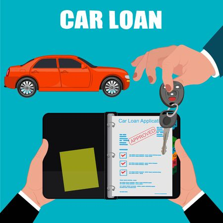 car loan: car loan contract, hand holding keys, vector illustration, flat style