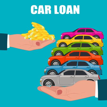 Car loan, buying, payment exchange, vector illustration, flat style Illustration