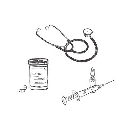 pharmacy pills: stethoscope, pills, medicine, pharmacy, syringe, sketch style, vector illustration Illustration