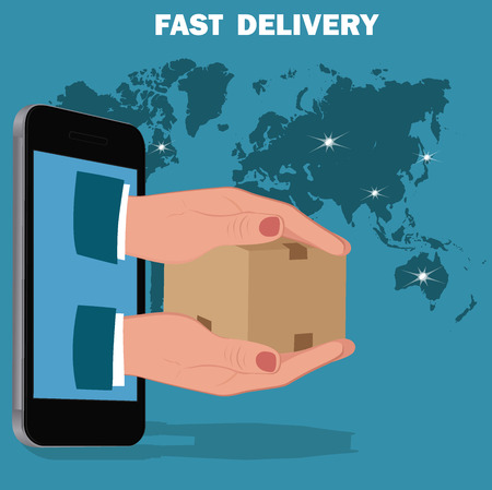 fast delivery service, flat design, vector illustration