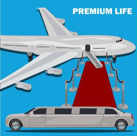 Premium life, limousine and red carpet concept, flat design, illustration Ilustracja