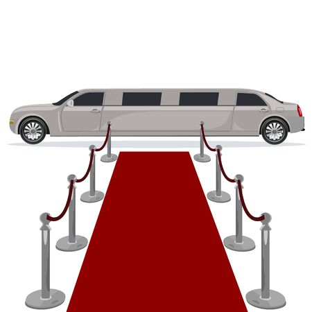 wealthy lifestyle: limousine and red carpet concept, flat design, illustration